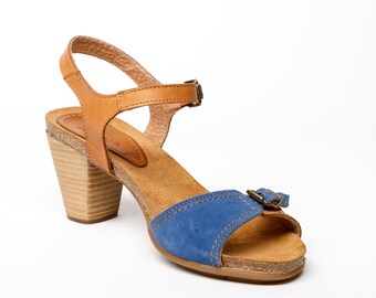 Women's leather sandals blue and camel with suede slip-sole, Women's adjustable sandals high heel, womens leather shoes blue and camel