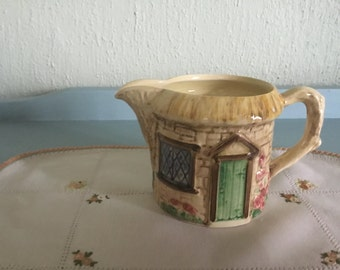 SylvaC thatched cottage creamer milk jug Staffordshire made in England Croft ware hand made hand painted