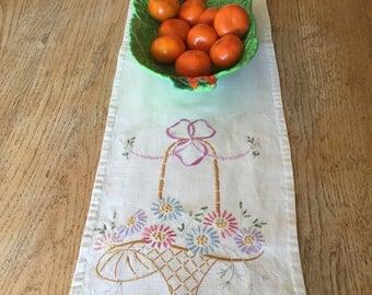 Embroidered linen table runner, dresser runner vintage 39  x 10 flowers in basket