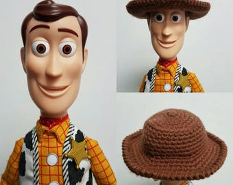 Toy story Woody doll hat, replacement Woody's hat, Toy story hat, crochet hat, cowboy hat, brown cowboy hat, made to order