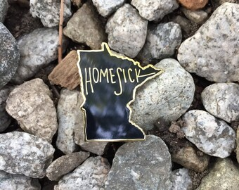 Homesick Enamel Pin - Minnesota State // Hard Black Gold Pin