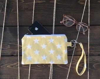 Wristlet wallet, zipper pouch, iphone wallet case, zipper clutch