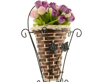 Weave Vine Mural Wall Hanging Artificial Flower Plant Basket Flower Arrangment Home Table Decor