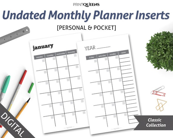 Undated Monthly Planner Insert Printable Month On Two Pages MoP