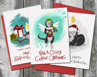 Trouble the Cat Christmas Card 3 Pack Bundle – Coffee Christmas, Delicious Holiday, and Happy Christmas or Something