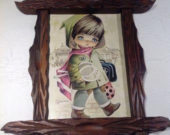 Fallarda - Gallarda - Big Eyes - Retro kitsch - Olympian small - girl at the Olympic Games - frame wooden / / Spanish artist