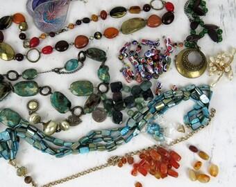 Broke Jewelry Lot, jewelry destash, beads, R-3-2-30