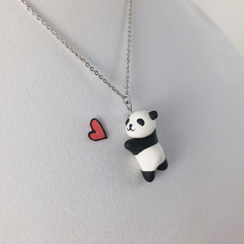 Cute Panda Necklace Polymer Clay Pendant Kawaii Black