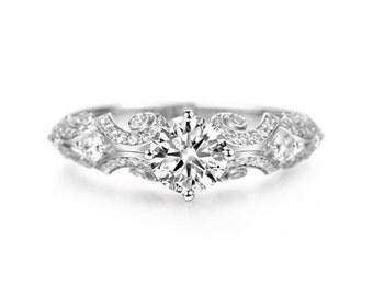 Vintage Inspired Moissanite Engagement Ring in 14k White Gold, Diamond Alternative engagement ring