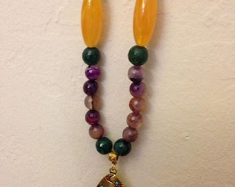 A metallic necklace