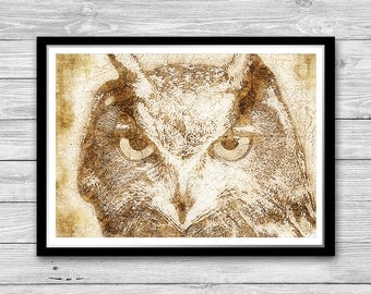 Owl print, Wall Art, Owl poster, Bird of prey poster, Archival art print, Owl Decor, Owl Art print, Animal wall art, Bird printable,