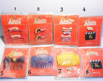 8 to choose from! RARE Vintage 1980s Little Orphan Annie hair barrettes & combs -NEW old Stock-1981 Annie -Priority Shipping Worldwide!
