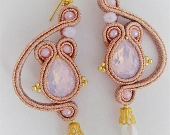 soutache earrings pink gold opal