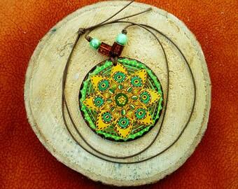 Wooden woodburned mandala pendant - Handpainted pattern necklace - Summer jewelry - Boho, Hippie style