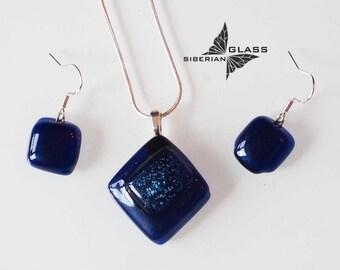 Fused glass jewelry set Milky Way