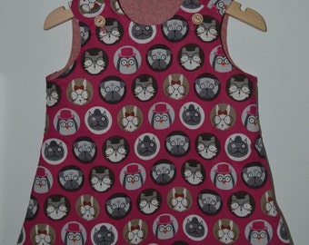 Pinafore Animal Print Reversible Dress 6-12 Months