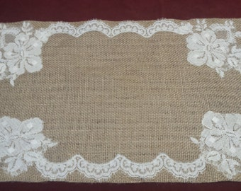 rectangular jute and lace decoration Center table