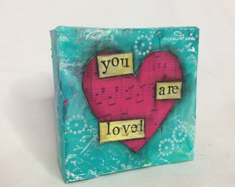 Mini Heart Canvas - You Are Loved!