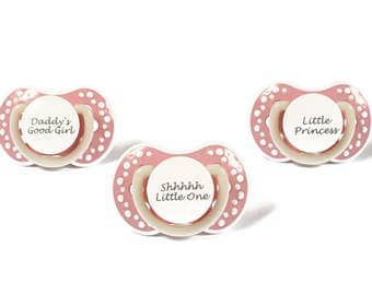 Adult baby binky. ABDL adult pacifier with the words good girl or little princess. Glow in the dark adult dummy in baby pink - nuk 3