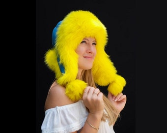 Ukrainian Dyed Fox Fur Bomber Hat
