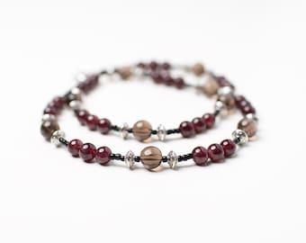Balance/Stabilize Root Chakra (Garnet, Smokey Quartz and Silver)