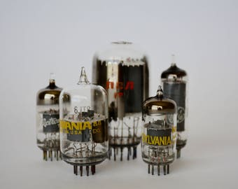 5 Electronic Vacuum Tubes, Electronic Parts, Industrial, Steampunk Supplies, Altered Art Supplies, Radio Tubes, TV Tubes, Vacuum Tube