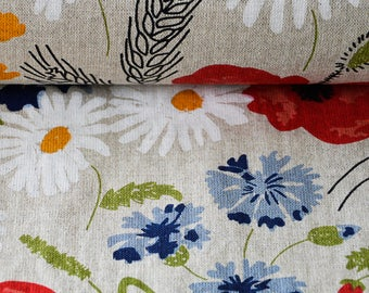 Linen Cotton  Fabric. Flower Fabric .Printed fabric.Floral Poppies  Fabric   Sold by the yard.