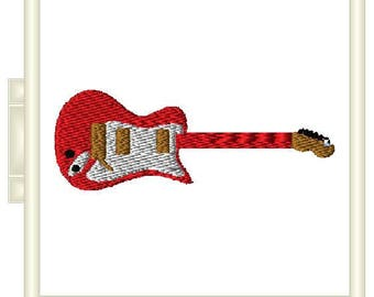Guitar Embroidery Design Pattern File - Fits 4x4 Hoop - MULTIPLE FORMATS- Instant Download