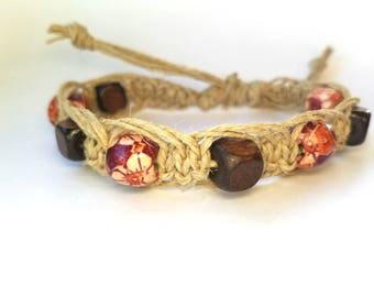 Beach anklets, hemp anklets, hemp jewelry, hippie ankle bracelet, gypsy bracelet, boho bracelet, natural jewelry, gifts for her, macrame
