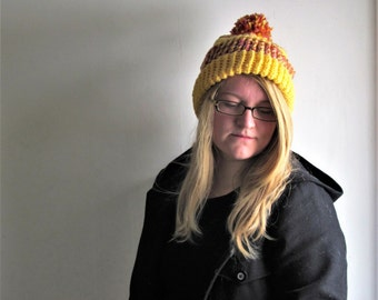 Yellow pink and orange crochet slouchy hat/ slouchy beanie/ womens winter hat/ slouchy beanie with pom pom/ gift for her