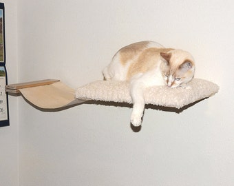 Cat Hammock Bed Combo Wall Mounted Cat Bed Perch Shelf Cat Furniture Hand Crafted Natural Wood Padded Plush Sherpa Canvas Pet Bed Soft Kitty