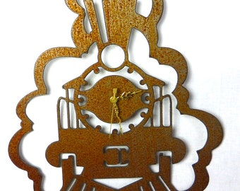 Metal Train Clock Natural Rust Patina Steam Locomotive