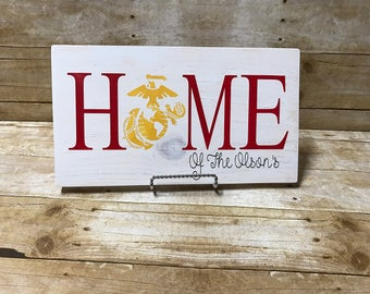 Marines home sign, military sign, personalized family sign