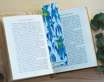 Bookmark Ringneck parrot and Eucalyptus, Australian Native Flora and bird eco-friendly bamboo paper.