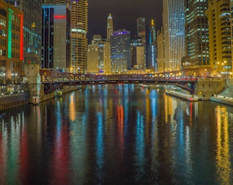 Dramatic Chicago River Skyline-Night Landscape with Clark Street Bridge-Color Photograph-Wall Art-Digital Download-Print it your way & save!