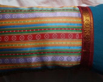 East 8 series: Cushion, 30 x 50 (12 x 20), oriental ethnic striped fabric, stripes, cotton fabric, blue green orange.