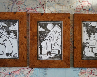 3pc - Cute Ghost Lino Prints - Framed - Vintage