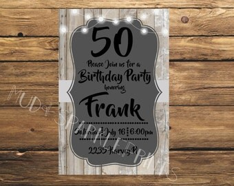 Birthday Invitation (lights/wood)