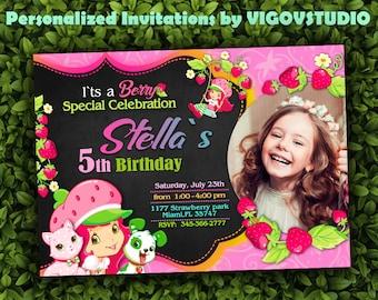 Strawberry Shortcake Invitation-Strawberry Shortcake Birthday Invitation with photo-Strawberry Party-Strawbery Party-Thank You Card- Digital