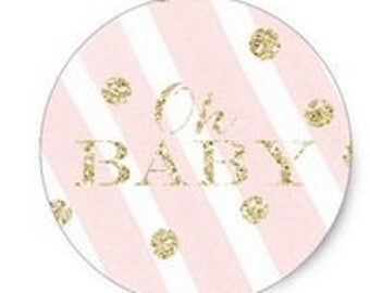 """24 PCS """"Oh Baby"""" Baby Shower Sticker, Seals, Scrapbook Supplies, Stationary, Paper, Paper Stickers, Stickers, Paper Supplies"""