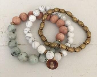 The Ashley Hamsa set - yoga jewelry - hamsa - yogi - beaded beacelets
