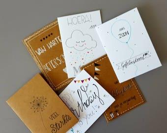 Set of 6 greeting cards including envelope