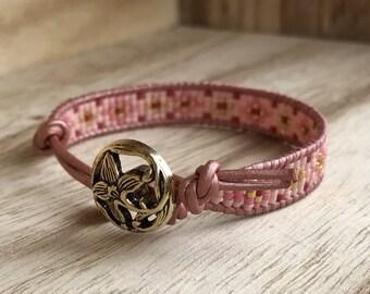 Pink & Gold leather beaded bracelet - UK seller