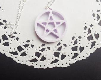Pastel Purple Pentacle Necklace, pentacle pendant, pastel goth jewelry, witch jewellery, witch jewelry, pentacle jewelry, pentacle jewellery