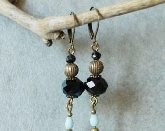 Black faceted earrings, bronze metal and drop blue