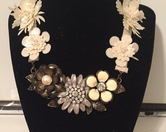 Bronze and Silver Flower Necklace