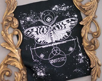 hand printed Backpatch occult moth
