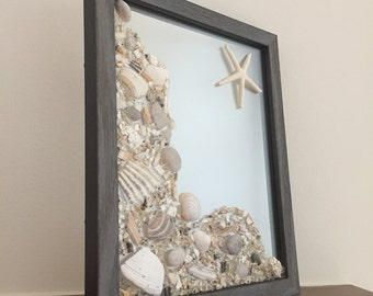 Seashell Wall Art, Coastal Wall Art, Beach Decor, Decorative Frame, Coastal Decor, Starfish Accent, Beach House Decor, Home Decor
