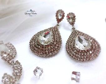 Swarovski Bridal Earrings, Crystal Earrings, Wedding Earrings, Diamante Earrings, Bridal Earrings, Dangle Bridal Earrings, Luxury Earrings