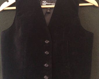 Black Vintage Cotton Velour Grevelour Waitcoat